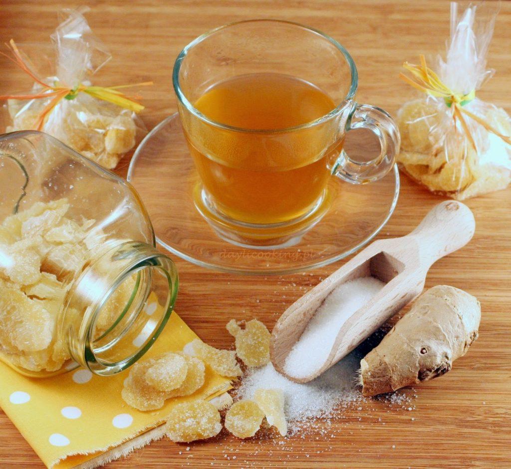 jak zrobić kandyzowany imbir, jak się robi imbir w cukrze, syrop imbirowy do herbaty