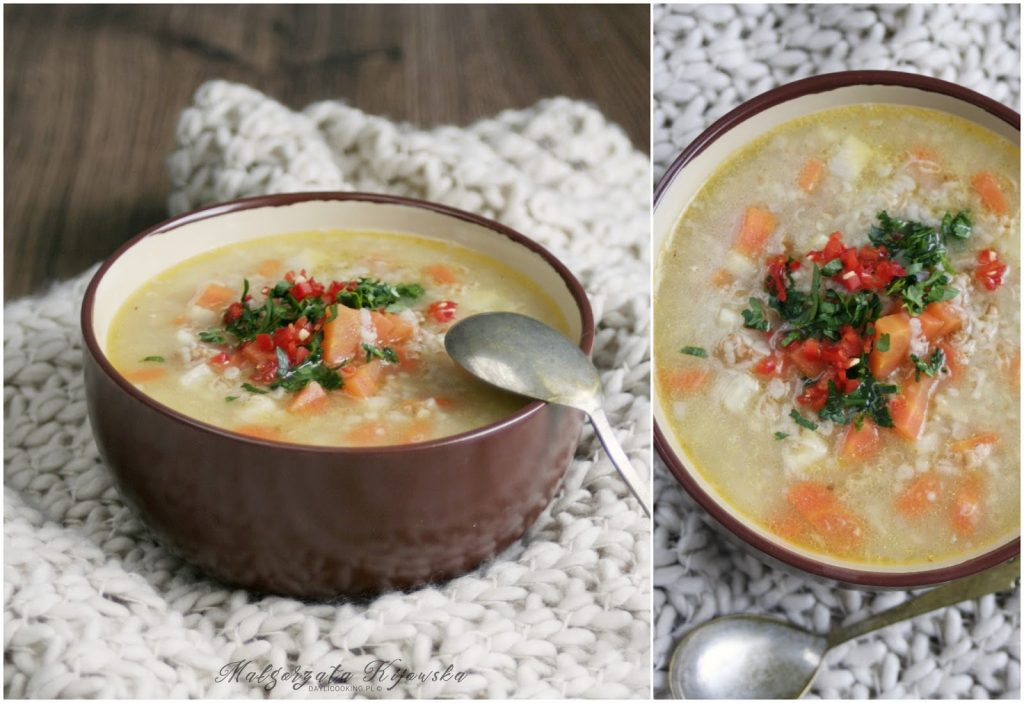 obiad bez mięsa, zupa wegetariańska, wegetariański obiad, kasza owsiana