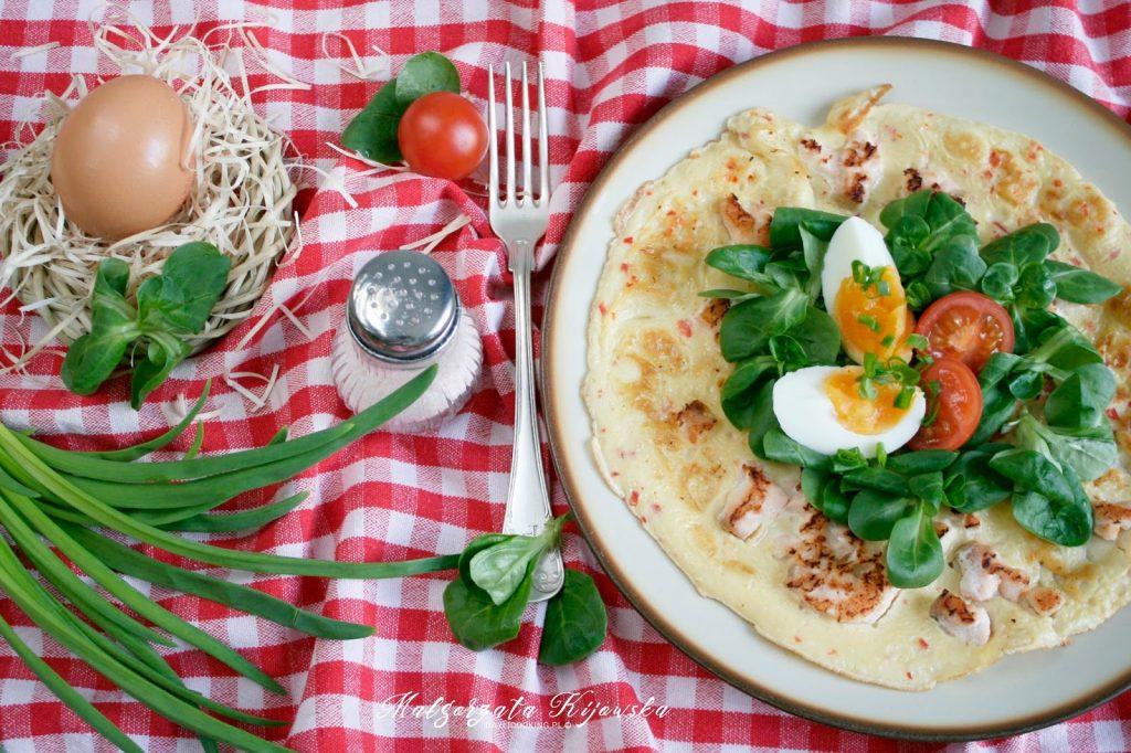 omlet z rybą i rukolą, kolacja, śniadanie