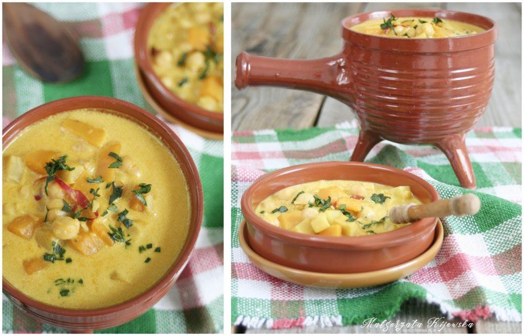 Przepis na pikantne curry z dynią, selerem i ciecierzycą