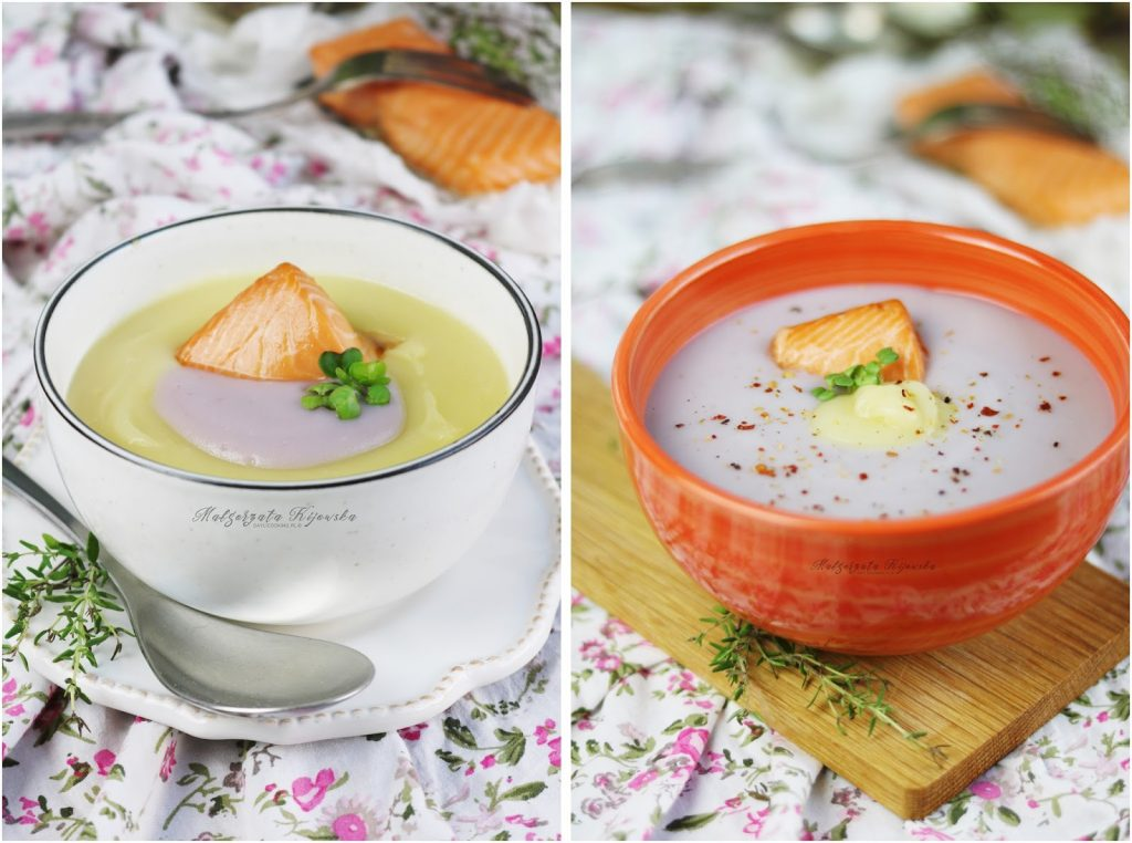 zupa z fioletowych ziemniaków, krem ziemniaczany z łososiem, do czego użyć fioletowych ziemniaków, fioletowe ziemniaki, daylicooking, zupa na jesień