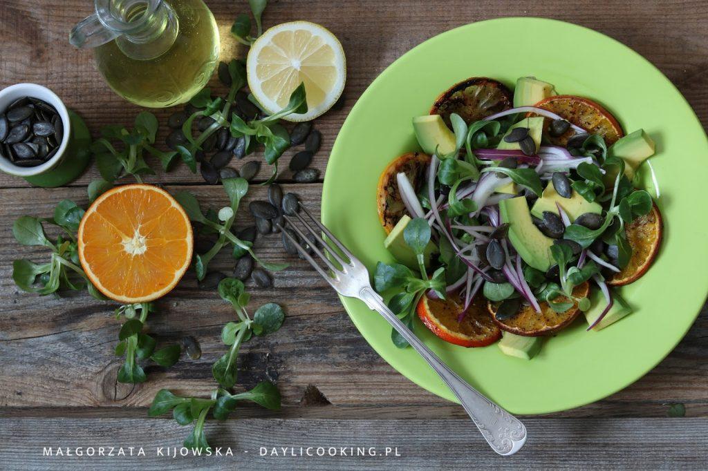 pieczone pomarańcze i cytryny, sałatka z pomarańczami, lekka sałatka, daylicooking